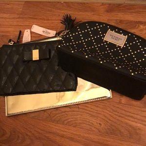 VS makeup gold black bags lot New